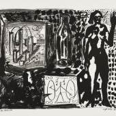 A.R. Penck, Stehender Akt, Stillleben und Zeichnung, 1979 Lithografie, 657 x 823 mm (Blatt); ca. 580 x 710 mm (Darstellung)  © VG Bild-Kunst, Bonn 2017, Foto: Andreas Diesend