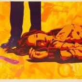 Victim Yellow 2014 / unique Spray paint on deckle edge paper 100 x 70 cm
