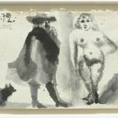 """Pablo Picasso: """"Mousquetaire et nu debout"""" Lavierte Tuschzeichnung und Kohle auf Bütten, 1972, 13 x 19,4 cm © Succession Picasso/Bildrecht Wien, 2019 / Foto: Galerie Française"""