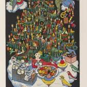 """Lot: 1260 Dehmel, R. Dehmel, R. (Hrsg.), Der Buntscheck. Ein Sammelbuch herzhafter Kunst für Ohr und Auge deutscher Kinder. (Zweite Ausgabe). Mit zahlr. farb. Illustrationen von E. R. Weiss, E. Kreidolf, K. Hofer und K. F. von Freyhold. Köln, H. und F. Schaffstein o. J. [um 1906]. Farb. illustr. OPp. 4to. 55 S.  Seebaß II, 433. - Vgl. Schug 514 sowie Pressler 113 und S. 203 (EA 1904]. - Zweite Ausgabe, tatsächlich die Titelauflage der ersten Ausgabe. - """"Entspricht nach Inhalt und Ausstattung der Erstausgabe .. 'Entwickungsgeschichtlich ist der Buntscheck vielleicht das bedeutendste Buch der neueren Kinderbuch-Malerei'. """" (Halbey in Das Bilderbuch; aus Seebaß)"""" - Sauberes gut erhaltenes Exemplar."""