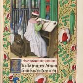De Gros-Carondelet-Stundenbuch Flandern um 1480 sowie Burgund um 1485/1500 Miniatur-Ausschnitt: Evangelist Markus beim Schreiben Schätzpreis: € 250.000