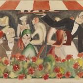 Dodo (d.i. Dörte Clara Wolff) Wedding auf dem Dachgarten. 1929. Gouache, Aquarell über Bleistift. 46,5 x 64 cm (18.3 x 25.1 in). Taxe: € 40.000-60.000