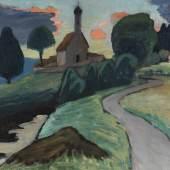 Lot: 54 Gabriele Münter 1877 Berlin - 1962 Murnau Kirche an der Ramsach. Um 1935. Öl auf Leinwand. Verso auf der Leinwand mit dem Nachlassstempel. 43,5 x 52,3 cm (17,1 x 20,5 in). Schätzpreis: 150.000 EUR / 192.000 $