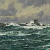 """Lot: 1301   Bergen, Claus  Deutsches U-Boot """"U-53"""" auf hoher See, 1930.  Schätzpreis: 5.500 EUR / 7.095 $. Erlös  € 6.000*"""