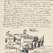 Lot: 392   Pechstein, H. M.  Brief mit Zeichnung (3. Juni 1931).  Schätzpreis: 5.000 EUR / 6.950 $