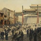 Lot: 272   Kips, Erich  Belebte Pekinger Straßenszene vor dem Quianmen Tor, Ca. 1900-1920.  Erlös (inkl. 25% Aufgeld): 25.000 EUR / 34.750 $