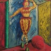 """Bruno Krauskopf, Tanzender Clown. Wohl 1950er Jahre.  Öl auf Hartfaser. Signiert u.re. """"B. Krauskopf"""". In schwarzer Holzleiste mit goldenem Lichtprofil gerahmt. Malschicht partiell leicht berieben; an der Oberkante drei minimale Fehlstellen."""