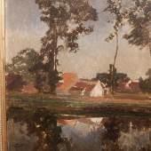 """Alfred Zoff(1852-1927)""""Gehöft am See"""",Öl auf Papier auf Pappe aufgezogen,signiert, unrestauriert,ca.45x37cm"""