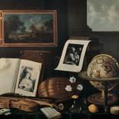 Sebastian Stoskopff Vanität mit Büchern, Grafik, Musikinstrumenten, Blumenvase und Himmelsglobus. Schätzpreis: CHF 190'000