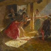 """Los 50 Luigi Rossi """"Il mosto"""". Öl auf Leinwand, 80x114,5 cm, sig. u.l., verso a. Ausstel-lungs-Etikett betitelt. (Schätzpreis: CHF 36000) ZUSCHLAG: CHF 28'000"""