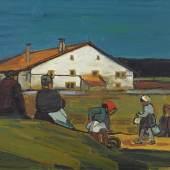 """Los 210 Albert Schnyder """"Devant la ferme"""". Öl auf Rupfen, 60x73 cm, verso a. Künstler-Etikett sig., dat. 1962 u. betitelt. (Schätzpreis: CHF 9500) ZUSCHLAG: CHF 17'000"""