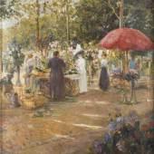 EKATERINA SERGEEVNA ZARUDNAJA-KAVOS (ODER AUCH: KOVAS, 1861 tätig in Sankt Petersburg – 1917), BLUMENMARKT,  Öl auf Lein-wand. 80,5 x 75,5 cm