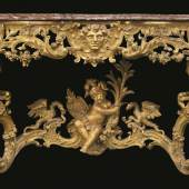 115 A GERMAN ROCOCO CARVED GILTWOOD CONSOLE TABLE, THE DESIGN ATTRIBUTED TO FRANÇOIS CUVILLIÉS THE ELDER MUNICH, CIRCA 1735, 30,000 - 50,000 USD