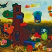 Arik Brauer * (Wien 1929 geb.)  Turm aus gebrannter Erde, 1963 Öl auf Sperrholz mit Acrylgrund; gerahmt; 122 × 150 cm, Meistbot€ 150.000 (ohne Aufgeld)