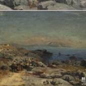 Nestel, Hermann (1858-1905), Italienische Küste mit Fischerfamilie, Öl auf Leinwand ging mit 7.500 Euro