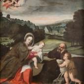 POLIDORO DA LANCIANO (ATTR. 1515 – 1565), DIE HEILIGE FAMILIE MIT DEM JOHANNESKNABEN, Öl auf Leinwand (doubl.). 116 cm x 107 cm, Rahmen,  Limit 11.000,- €
