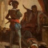 CARL SPITZWEG (1808 – 1885), Tod eines Verschwörers (Komödianten), Öl auf Holz (Zigarrenschachtel), 21 x 14 cm, Limit 10.000,- €