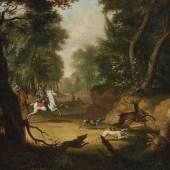 """""""Hirschjagd im Wald"""",Öl auf Leinwand,doubliert, unten links bezeichnet """"J Klengel 17""""(Rest nicht lesbar),ca.69x69cm,Johann Christian Klengel (1751-1824)zugeordnet"""