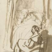 Rembrandt, Frau im Bett (Saskia?) mit einer Amme, um 1638  Feder und Pinsel in Braun, braun laviert, 227 x 164 mm © Staatliche Graphische Sammlung München
