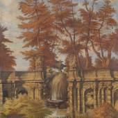 """Julius Hübner """"Tempi passati"""". 1879.  Öl auf Leinwand. Verso in Schwarz signiert """"J. Hübner"""", datiert und bezeichnet """"im Jahr meiner goldenen Hochzeit""""."""