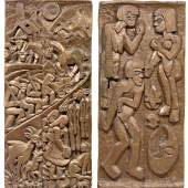ERNST LUDWIG KIRCHNER Tanz zwischen den Frauen. Alpaufzug auf die Staffelalp. 1919. Bronzeguss nach doppelseitigem Holzrelief. Guss 1968. 172 x 80 cm. CHF 250 000 / 450 000