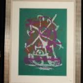 """Joan Miró (1969), (Katnr. 4500, Taxe € 2.800,-)  Die Farblithographie """"Lilletre"""" (num. 33/75) wurde vom Künstler handsigniert und ist ein Höhepunkt aus unserem umfangreichen Graphikangebot. The colour lithograph """"Lilletre"""" (num. 33/75) is manual signed by the artist and one highlight in our large graphic offer."""