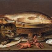PEETERS, CLARA  (um 1590 Antwerpen um 1659)  Stillleben mit Katze, Fischen, Austern und Flusskrebsen.  Öl auf Holz.  Unten links signiert: Clara. P.  34 x 48 cm.  CHF 100 000 / 150 000 | (€ 83 330 / 125 000)