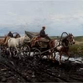 MICHAEL WYWIORSKI-GORSTKIN( 1861 – 1926), Kosaken und Bauern auf einem schlammigen Weg, Öl auf Leinwand. 51 x 101 cm. Limit 6.000,- €