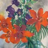 Emil Nolde (1867 - 1956),Blumenstillleben mit Feuerlilien und Glockenblumen. Aquarell, hinter Glas und im Passepartout gerahmt. , 47 x 35 cm. Limit 20.000 ,- €