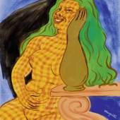 RENÉ MAGRITTE (Lessines 1898 - 1967 Brüssel) Les voies et moyens. 1948. Gouache und Gold auf Papier. Unten rechts signiert: magritte. Verso signiert, datiert und betitelt. 40,5 x 32,8 cm. Verkauft für CHF 439 500 (inkl. Aufgeld)