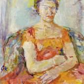 OSKAR KOKOSCHKA (Pöchlarn 1886 - 1980 Montreux) Ann Windfohr. 1960. Öl auf Leinwand. Unten links mit dem Monogramm: OK. 91 x 70 cm. Verkauft für CHF 146 700 (inkl. Aufgeld)