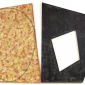 ROBERT MANGOLD (North Tonawanda 1937 - lebt und arbeitet in Washingtonville) Red with Green Ellipse / Black frame. 1988/89. Acryl und Bleistift auf Leinwand (Diptychon). Verso signiert, betitelt, datiert und bezeichnet: R. Mangold Red with Green Ellipse / Black frame, 1988-89, Panel 1/2 of 2. 140 x 210 cm. Verkauft für CHF 317 500 (inkl. Aufgeld)