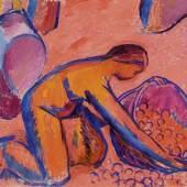CUNO AMIET (Solothurn 1868–1961 Oschwand) Die Obsternte (enstanden in der Vorbereitung zur sog. Wassmer-Fassung). 1912. Öl auf Leinwand. Unten rechts monogrammiert: CA. 103 × 115 cm. Verkauft für CHF 775 800 (inkl. Aufgeld)
