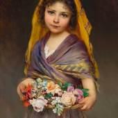 EUGEN VON BLAAS  (Albano Laziale 1843–1931 Venedig) Junges Mädchen mit Blumenkorb. 1898. Öl auf Holz. CHF 60 000 / 80 000  € 52 630 / 70 180