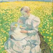 CUNO AMIET (Solothurn 1868–1961 Oschwand) Mutter und Kind. 1899, überarbeitet vor 1904. Tempera auf Leinwand. Unten links signiert und datiert: C. Amiet 99. 80 × 57 cm. Verkauft für CHF 833 300 (inkl. Aufgeld)