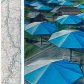 CHRISTO (VLADIMIROV JAVACHEFF) The Umbrellas (Joint Project for Japan and USA). 1987. Bleistift, Kohle, Pastell, Wachskreide, Emaillefarbe und Karte. 244 × 38 cm und 244 × 106,6 cm. Ergebnis: CHF 390 000