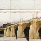 CHRISTO (VLADIMIROV JAVACHEFF) The Pont Neuf, Wrapped (Project for Paris). 1985. Bleistift, Kohle, Pastell, Wachskreide und technische Daten. 38 × 165 cm / 106,6 × 165 cm. Ergebnis: CHF 269 000
