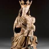 Madonna, um 1450, Oberrhein. Lindenholz, polychrom gefasst, teils vergoldet. H. ca. 60 cm. Limit 20.000,- €