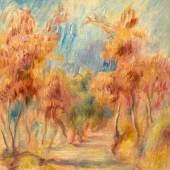 PIERRE-AUGUSTE RENOIR L'allée d'arbres. Um 1900. Öl auf Leinwand. 33,5 x 26,5 cm. Ergebnis: CHF 232 000