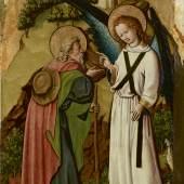 Meister von Schloss Lichtenstein  Botschaft des Engels an Joachim, um 1445  Malerei auf Tannenholz  101,3/101,6 x 50,8 cm  © Belvedere, Wien