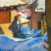 GIOVANNI GIACOMETTI Verschneite Dorfpartie in Capolago. 1932. Öl auf Leinwand. 60 × 50 cm. Ergebnis: CHF 269 000