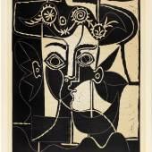 PABLO PICASSO Grande tête de Jacqueline au chapeau. 1962. Farblinolschnitt. 75 × 62 cm. Ergebnis: CHF 110 000