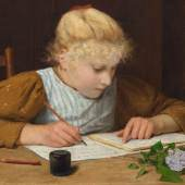 ALBERT ANKER Schreibendes Mädchen. Öl auf Leinwand. 35 x 51,5 cm. Ergebnis: CHF 545 000