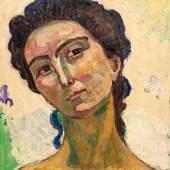 FERDINAND HODLER Blick ins Unendliche, grosse Kopfstudie. 1915–18. Öl auf Leinwand. 70 × 61,5 cm. Ergebnis: CHF 1 Mio.