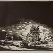 Fritz Aigner, (1930 - 2005) Der Kritikerhund, 1970 Linolschnitt Signiert und datiert rechts unten, nummeriert links unten: 50/99 Blattgröße: 50 x 64,7 cm / Plattengröße: 46 x 58 cm  Lot Nr. 4 Rufpreis 250€  Schätzpreis 500 - 700€