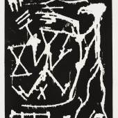 """A.R. Penck, Maler vor einem Bild, aus der Mappe """"8 Erfahrungen"""" Holzschnitt auf Büttenpapier, 660 x 512 mm (Platte); 778 x 579 mm (Blatt)  © VG Bild-Kunst, Bonn 2017, Foto: Andreas Diesend"""