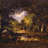 Narcisse Virgilio Díaz de la Peña, Waldinneres (Fontainebleau), 1874. Öl auf Holz, 23 x 34 cm. Staatliche Museen zu Berlin, Nationalgalerie. Foto: Andres Kilger