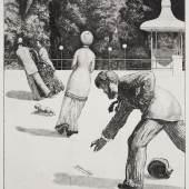 Max Klinger, Handlung, Blatt 2, aus: Ein Handschuh, 1881, Radierung und Aquatinta, 63 x 44,9 cm, Inv. Nr. KA (FP) 18198 D, Stiftung Museum Kunstpalast, Sammlung der Kunstakademie (NRW)