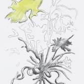 "Markus Huemer Red Virus ""Brain"", 2021, Graphit, Kohle und Aquarell auf Papier, 84,1 x 59,4 cm, Foto: Simon Vogel"