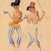 Irène Zurkinden Zwei Tänzerinnen, 1927 Aquarell auf Papier 21 x 12,4 cm Ref. 8/RB